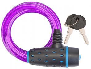 Трос-замок 87318 (1800 мм) d 8mm Черно-синий/Пурпурный